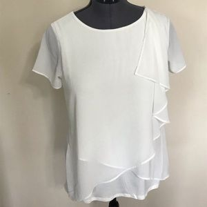 NWOT Kate & Mallory Asymmetrical Top White M